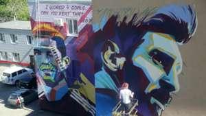 Murales Messi Cristiano