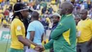 Siphiwe Tshabalala and Pitso Mosimane during the 2014 FIFA World Cup Qualifier match between South Africa and Ethiopia at Royal Bafokeng Stadium on June 03, 2012