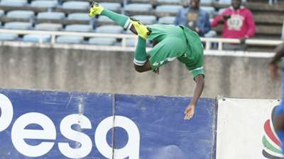 Gor Mahia striker Nicholas Kipkirui celebrates against AFC Leopards.