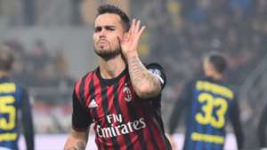 Suso celebrating Milan Inter Serie A 20112016