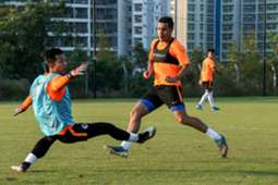Hong Kong national football team train for World Cup qualification match.