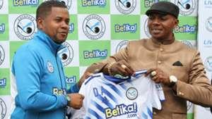 Newly appointed Sofapaka head coach Divaldo Alves with Elly Kalekwa.