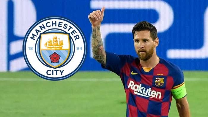 Lionel Messi Man City composite