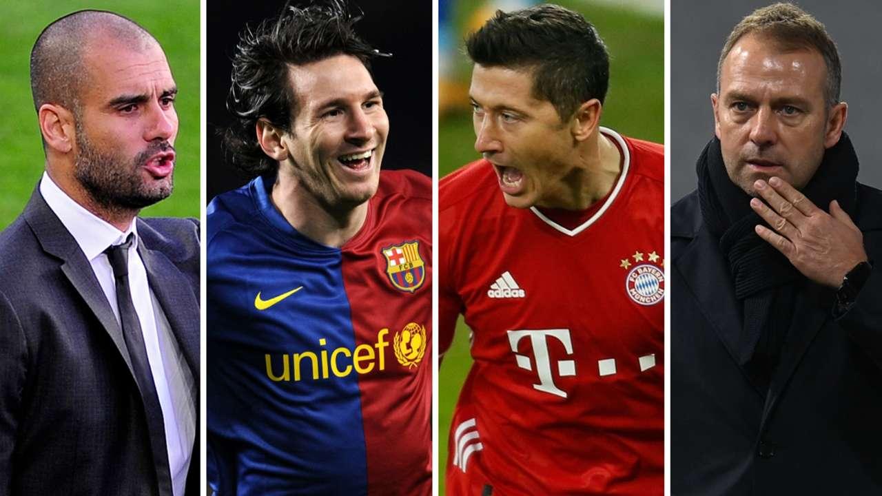 Pep Guardiola Lionel Messi Robert Lewandowski Hansi Flick Barcelona Bayern Munich GFX