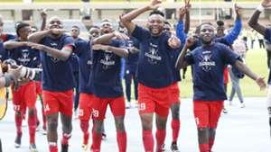 Bandari FC players celebrate winning FKF Shield Cup.
