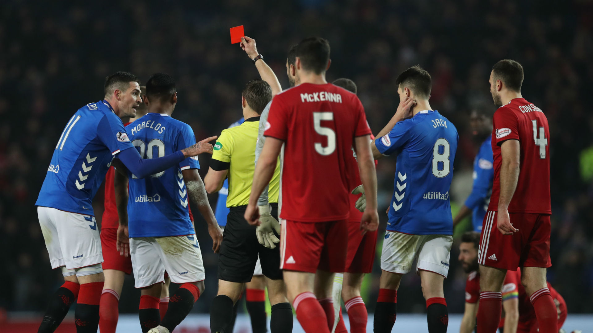 Alfredo Morelos is sent off for Rangers v Aberdeen