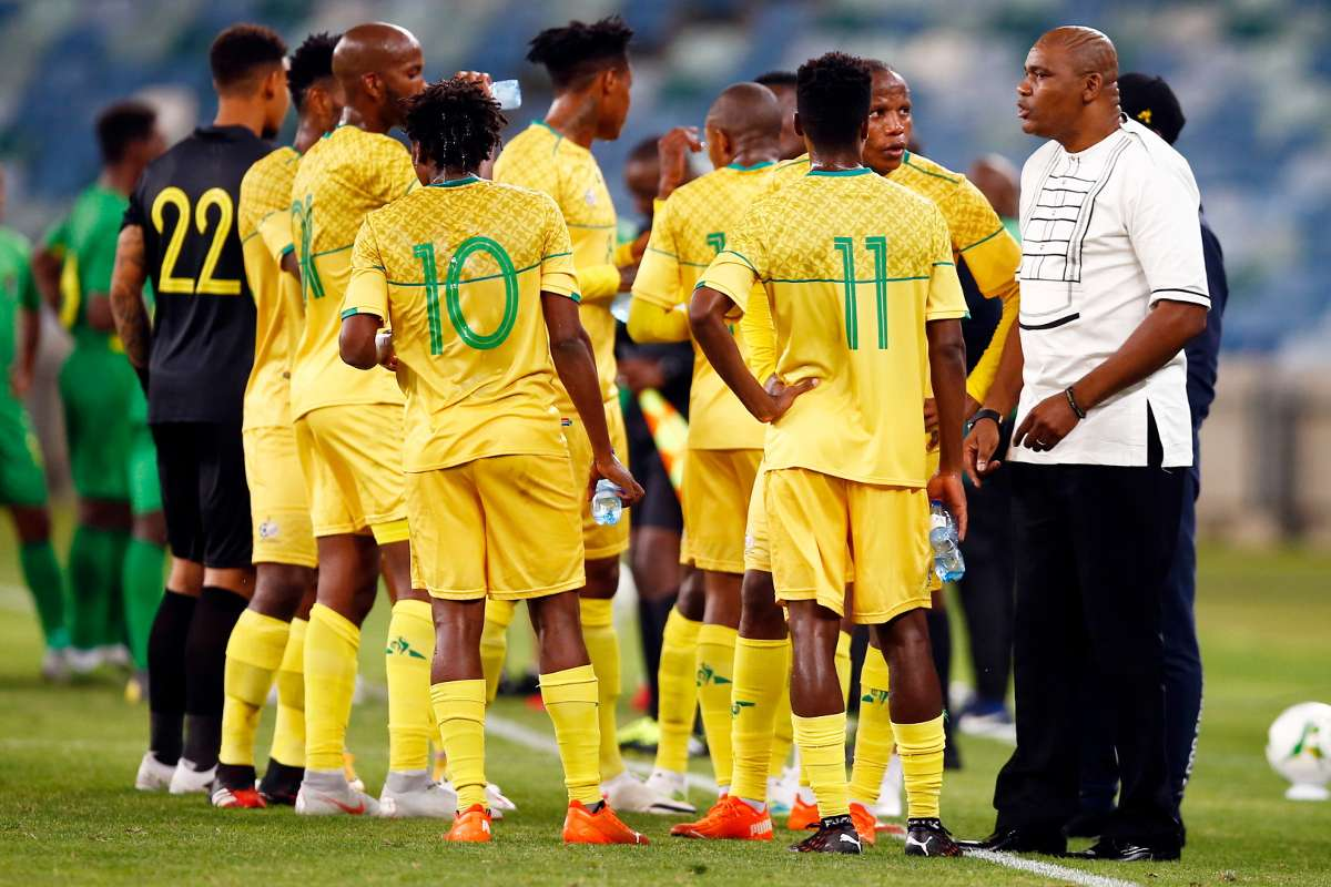 Bafana Bafana coach Molefi Ntseki and players, November 2020