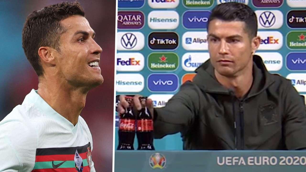 Cristiano Ronaldo Coca-Cola press conference composite Euro 2020