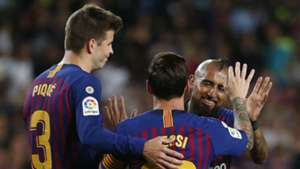 230918 Barcelona Girona Gerard Piqué Lionel Messi Arturo Vidal