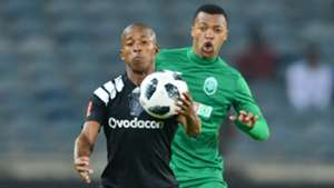Luvuyo Memela of Orlando Pirates challenged by Thembela Sikhakhane of AmaZulu, December 2017
