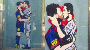 """TV Boy : """"L'amour est aveugle"""", le baiser de Messi et Ronaldo, dans les rues de Barcelone"""