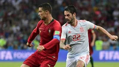 Cristiano Ronaldo Isco Portugal Spain World Cup 2018