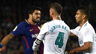 Luis Suarez Sergio Ramos Barcelona Real Madrid La Liga