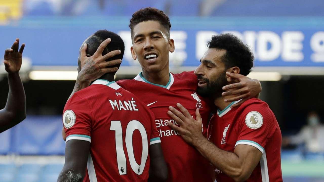 Sadio Mane Roberto Firmino Mohamed Salah Liverpool 2020-21