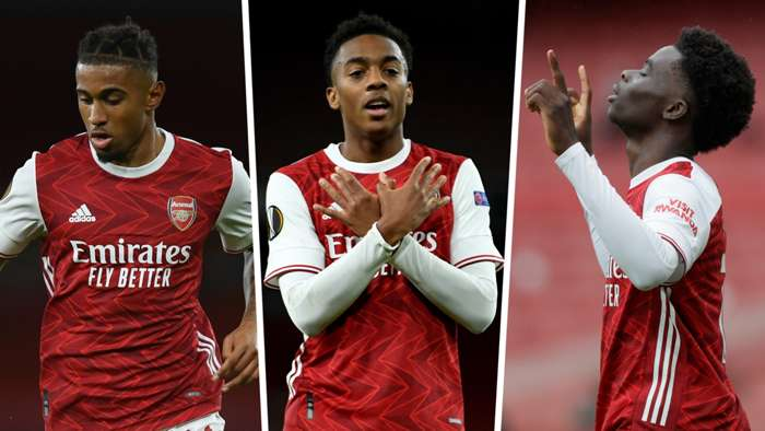 Reiss Nelson Joe Willock Bukayo Saka Arsenal GFX
