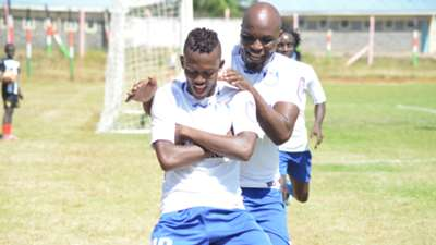 Hassan Abdalla and Wycliffe Ochomo of Bandari FC celebrates his goal against mt kenya fc.