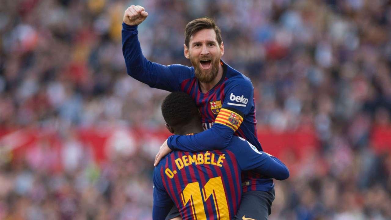 Lionel Messi Ousmane Dembele Barcelona Sevilla