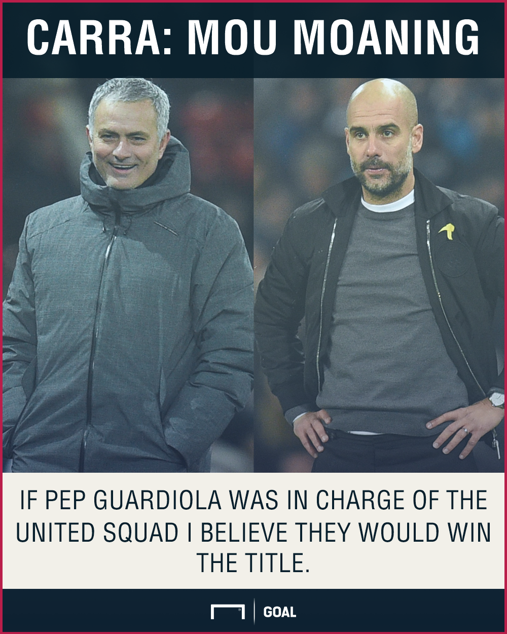 Jamie Carragher Jose Mourinho Pep Guardiola would win title at Man Utd