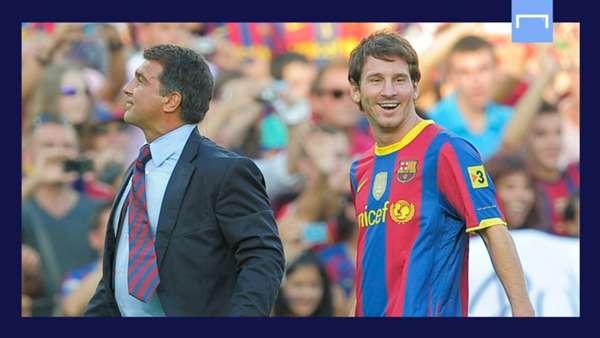 Lionel Messi Joan Laporta Barcelona GFX
