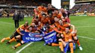 Wolverhampton Wanderers players celebrate promotion to the Premier League 15 April 2018