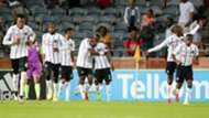 Orlando Pirates players celebrate Thembinkosi Lorch goal