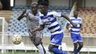 JOSHUA OYOO of Nakumatt v DENNIS SHIKHAI of AFC Leopards.