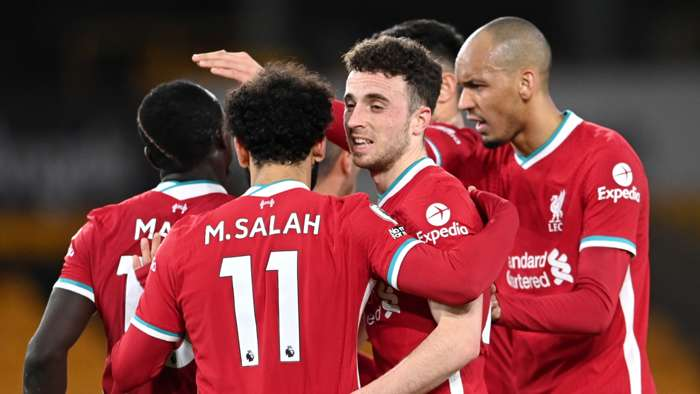 Liverpool celebrate Diogo Jota goal vs Wolves