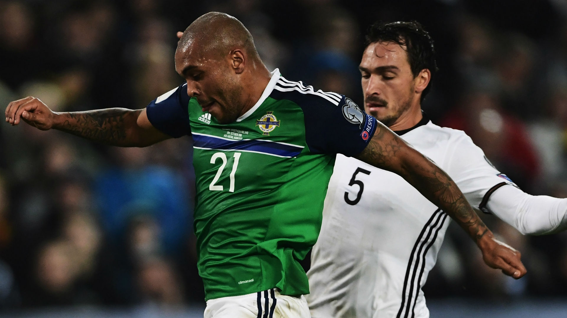 Josh Magennis Northern Ireland Mats Hummels Germany 2016