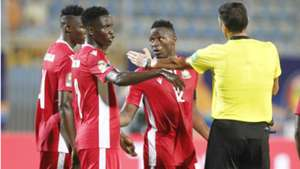 Joseph Okumu Michael Olunga and Victor Wanyama of Kenya and Harambee Stars.
