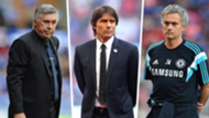 Chelsea managers Ancelotti Conte Mourinho