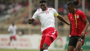 Michael Olunga of Kenya and Harambee STars v Uganda.