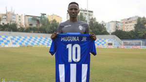 Kenneth Muguna of Gor Mahia and KF Tirana.