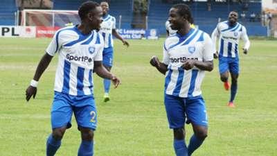 Brian Marita (R) and Yusuf Mainge of AFC Leopards.
