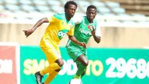 Kevin Kimani of Mathare United v Boniface Omondi of Gor Mahia.