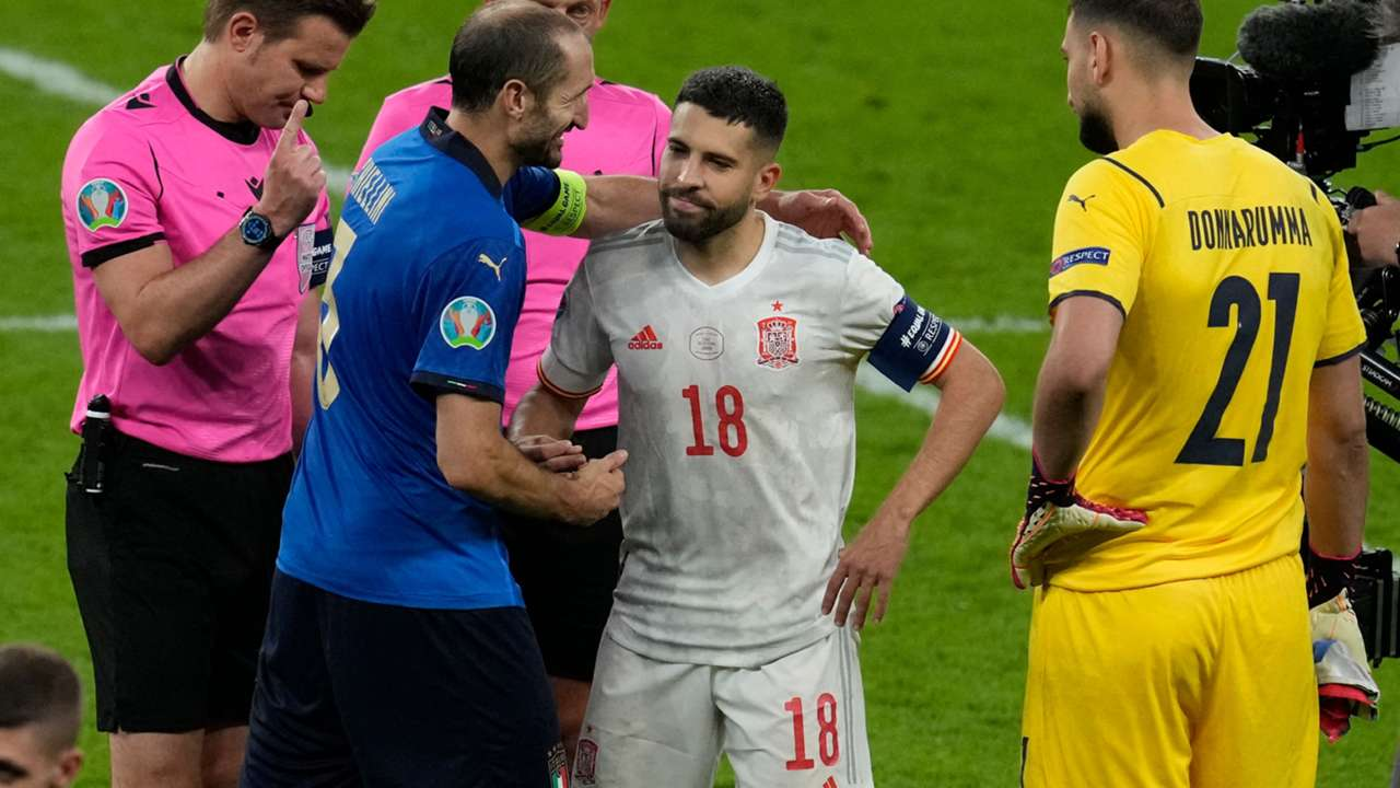 Giorgio Chiellini Italy Jordi Alba Spain Euro 2020