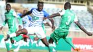Samuel Onyango of Gor Mahia and Francis Mustafa v Lobi Stars of Nigeria.