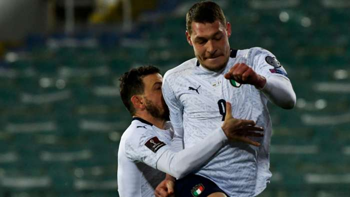 Belotti celebrating Bulgaria Italy World Cup qual