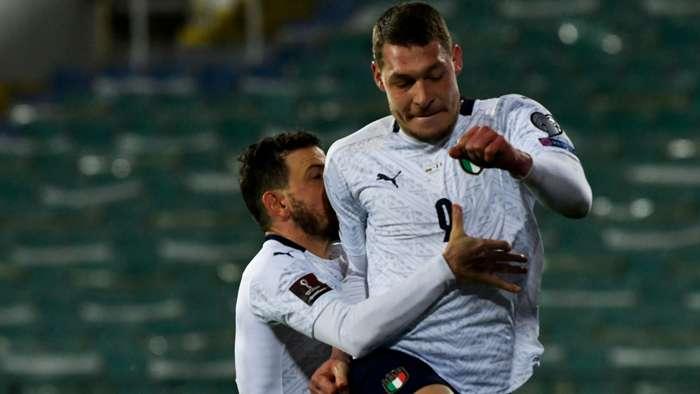 Belotti celebrating Bulgaria Italy World Cup qual