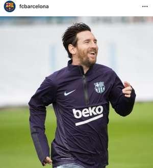 어깨 부상에서 회복해 FC바르셀로나 훈련에 복귀한 메시(10월 31일). 사진=FC바르셀로나 공식 인스타그램