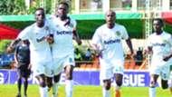 Karioabangi Sharks striker Patilla Omotto and Erick Kapaito.