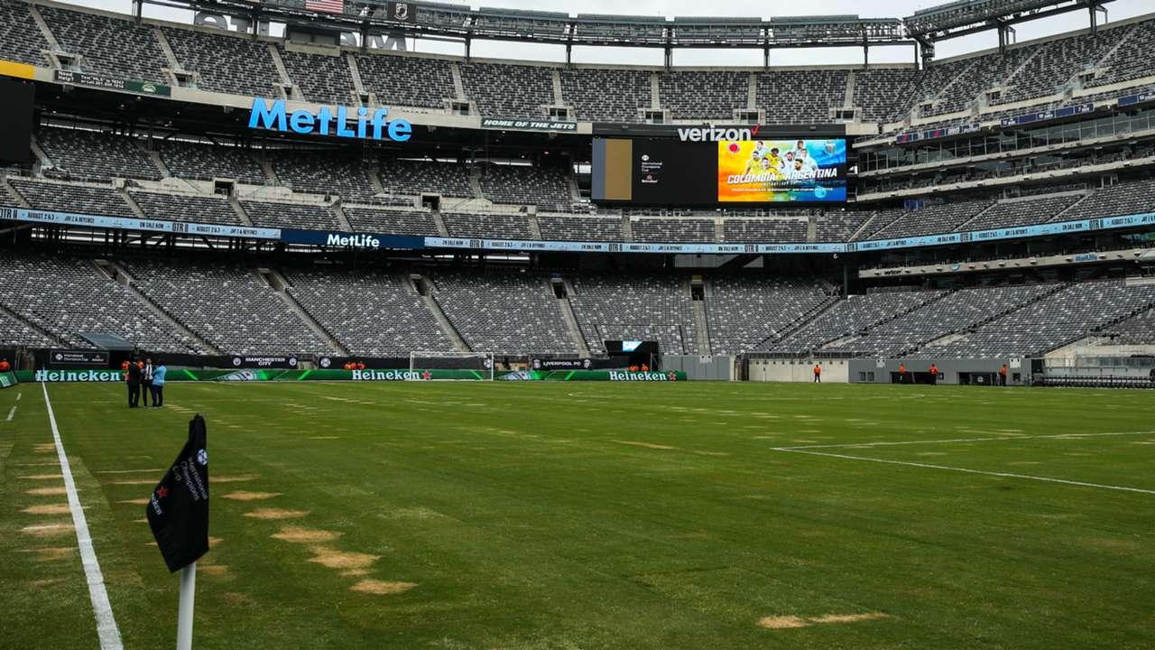 MetLife stadium pitch Liverpool Manchester City ICC 2018