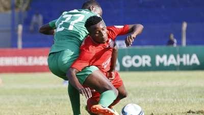 Yema Mwana of Bandari FC and Charles Momanyi of Gor Mahia in action.