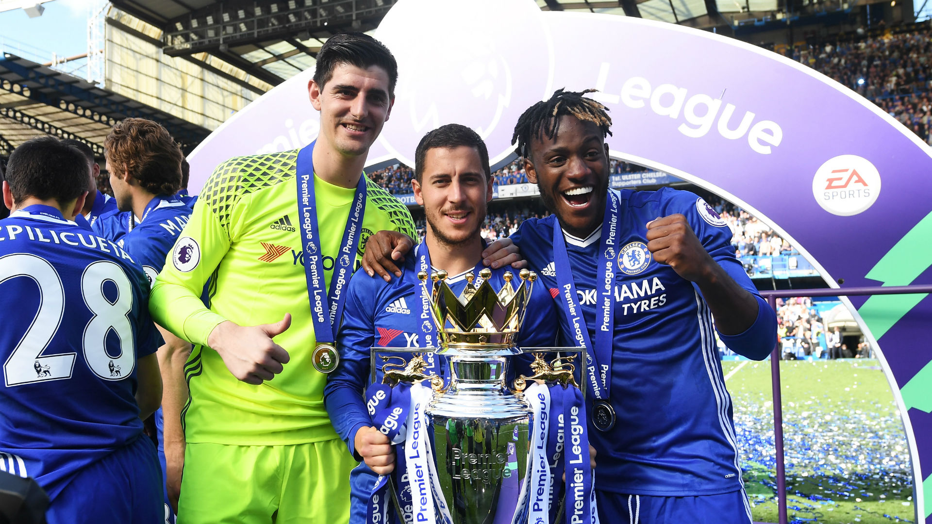 Thibaut Courtois Eden Hazard Michy Batshuayi Chelsea