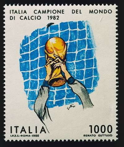 Postage stamp depicting Italian goalkeeper Dino Zoff holding the World Cup trophy