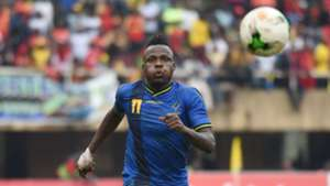 Thomas Ulimwengu of Tanzania in action against Uganda during the 2019 Afcon Qualifiers