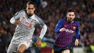 Virgil van Dijk Lionel Messi Liverpool Barcelona 2018-19