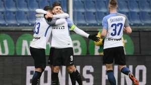 Inter celebrating Sampdoria Inter Serie A