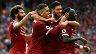 Liverpool celebrate Mane Firmino Can Salah