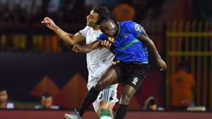 Algeria's Mohamed Salim Fares and Happygod Msuvan of Tanzania