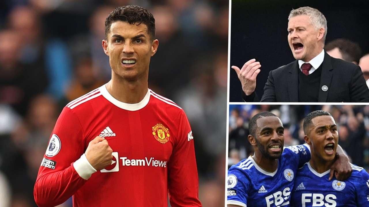 Cristiano Ronaldo Ole Gunnar Solskjaer Youri Tielemans Manchester United Leicester Premier League 2021-22 GFX